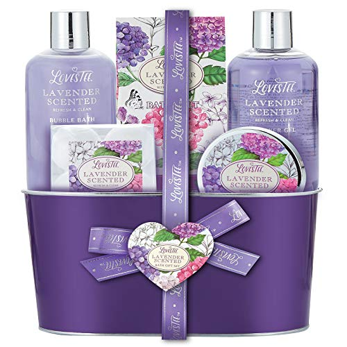 Bath and Body Spa Gift Basket for Women & Girls, Relaxing at Home Spa Kit, Lavender Bath Gift Sets for Birthday, Mothers Day, Includes Bubble Bath, Shower Gel, Body Lotion, Bath Salt and Bath Bombs