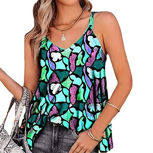 Elesoon Camisola de verano para mujer con estampado geométrico de colores, sin mangas, con cuello en V, A-verde, 42