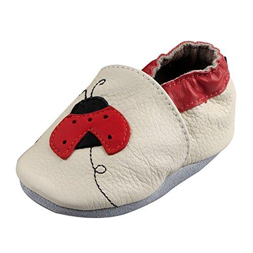 LSERVER Chaussure en Cuir Souple Chaussons Pour Enfant Bébé Garçon Fille, Coccinelle blanc, X (18-24 Mois, longue interne: 14.5cm)