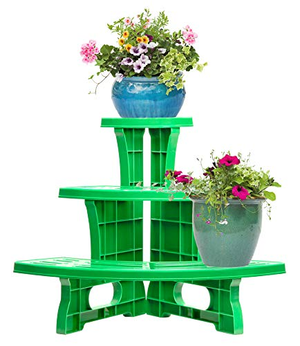 UPP Dekorative Pflanztreppe für Balkon Terasse oder Garten | Blumenbank als Platzsparer für Blumen & Kräuter | Wetterfest und langlebig [3-stufig, Ecke]