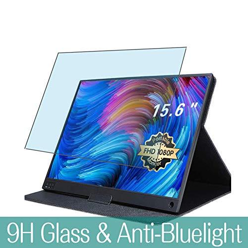 VacFun Anti Luce Blu Vetro Temperato Pellicola Protettiva per UCMDA 15.6' Mobile Monitor T15A Visible Area, 9H Pellicola Vetro Screen Protector Filtro Luce Blu(Non Piena Copertura)