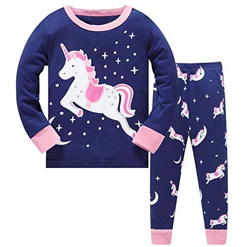 Filles Pyjama De Noël Licorne Vêtements de Nuit Deux pièces Manches Longues Chemises de Nuit Hauts Bas PJ Ensembles de Pyjama pour Childs Taille 6-7 Ans 7T Action de grâces Noël Cadeaux
