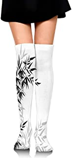 Compression Socks,Bamboo Leaves on Clear Simple Background Organic Life Artistic Illustration,Knee High Compression Sock Women Men,Best Running,Athletic Sports,Crossfit,Flight Travel(25.5