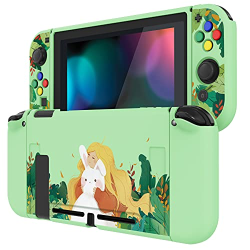 PlayVital Rabbit & Girl Protective Case for Nintendo Switch, Soft TPU Slim Case Cover for Nintendo...