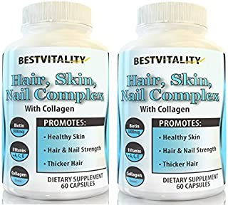Sponsored Ad - BestVitality 2 Pack 100% All Natural Biotin Complex Hair, Skin & Nail Growth Supplement - Formula Contains ...