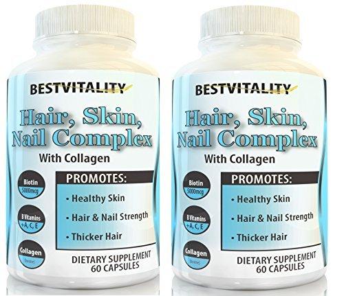 BestVitality 2 Pack 100% All Natural Biotin Complex Hair, Skin & Nail Growth Supplement - Formula Contains Biotin, Vitamin E, B1 Thiamine, B2 Riboflavin, B5 Pantothenic Acid, Zinc, Copper and Collagen
