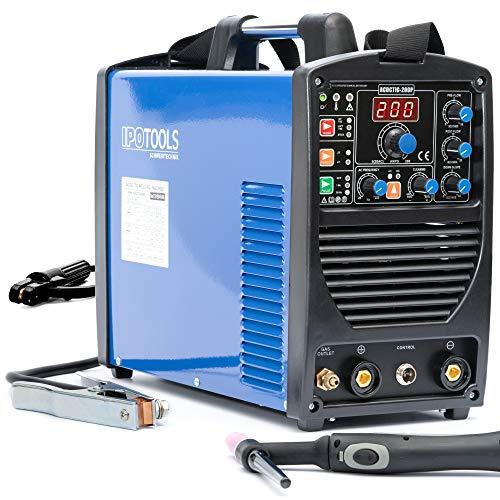 IPOTOOLS - Dispositivo de soldadura Inverter ACDCTIG 200P TIG CA CC con 200 amperios, totalmente digital, incluye encendido de alta frecuencia, función de pulso, MMA/soldadura eléctrica manual, IGBT