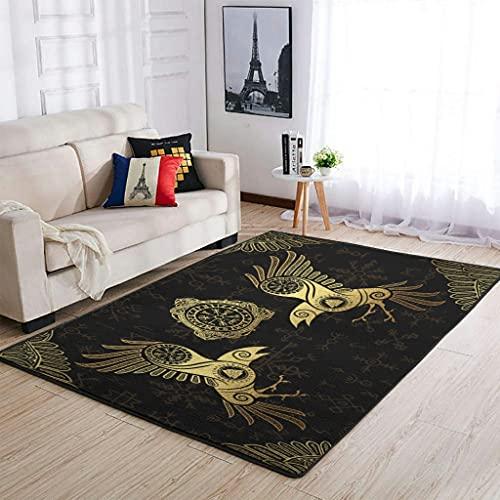 Tobgreatey Area Rugs Alfombra vikinga Odin Raven Huginn Muninn Vegvisir - acogedora alfombra escandinava para dormitorio (91 x 152 cm), color blanco
