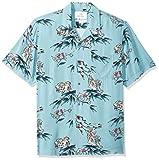 Marca Amazon - 28 Palms - Camisa vintage de rayón 100 % lavado y con corte estándar para hombre, diseño tropical hawaiano, Jungle Cat Light Blue, US XS (EU XS)