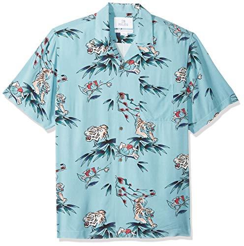 Amazon-Marke - 28 Palms Hawaii-Shirt für Herren, reguläre Passform, Vintage, gewaschen, 100 % Viskose, Jungle Cat Light Blue,  S