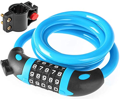 Mountain Bike Lock Electric Motorcycle Bike Lock Anti-Theft Password Combination Chain Lock Battery Fixed Cable Lock Cycling Accessories,Blue Bicycle Accesseries