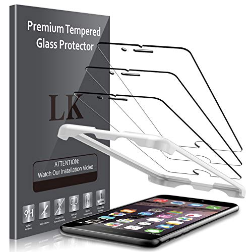 LK 3 PACK Screen Protector Compatible with iPhone 6 Plus / iPhone 6S Plus Tempered Glass, Alignment Frame Easy Installation, 3D Touch DoubleDefence Technology, HD Transparent, Bubble Free, Case Friend
