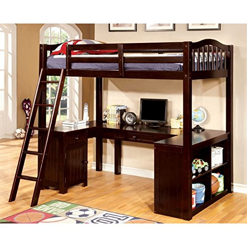 Furniture of America Franklyn Twin Loft Bed with Desk in Espresso