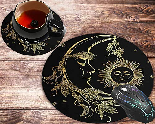 Round Mouse Pad and Coasters Set, Moon and Sun Delicate Pattern Black (Moon and Sun) Mousepad, Non-Slip Rubber Round Mouse Pad, Customized Mouse Mat for Working and Gaming
