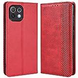 ALAMO Retro Klapp Hülle für Xiaomi MI 11 Lite, Premium PU Leder Handyhülle mit Kartenfächer & Geldbeutel - Rot