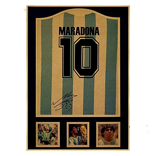 H/S Maradona No. 10 Camiseta Retro Nostálgico Estrella De Fútbol Cartel De La Copa del Mundo Sin Marco Picture50X70Cm R10411