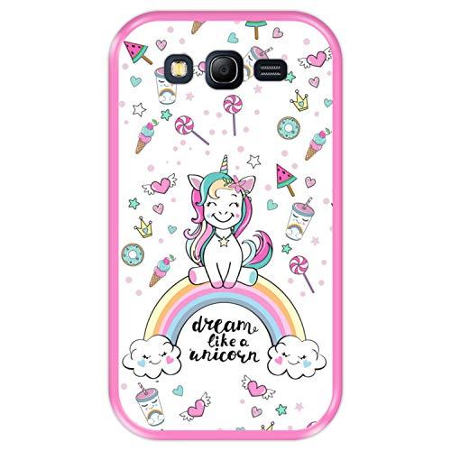 Hapdey Custodia per [ Samsung Galaxy Grand Neo - Neo Plus ] Disegni [ Arcobaleno, sogna Come Un Unicorno ] Cover Guscio in Silicone Flessibile Rosa TPU
