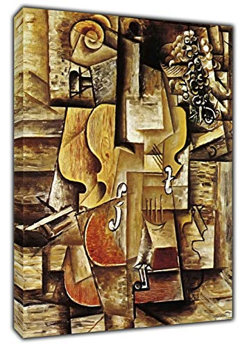 Pablo Picasso Violine und Traube, Nachdruck auf gerahmter Leinwand, 40'' x 30'' inch(102x 76 cm)-38mm depth