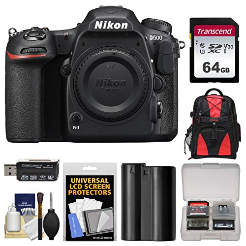 Nikon D500 Wi-Fi 4K Digital SLR Camera Body with 64GB Card + Backpack...