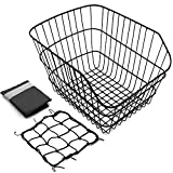 Hoobbii Rear Bike Basket, Waterproof Metal Wire Bicycle Basket with Adjustable Cargo Net and Waterproof Bike Basket Liner, Suitable for Most Rear Bike Racks.