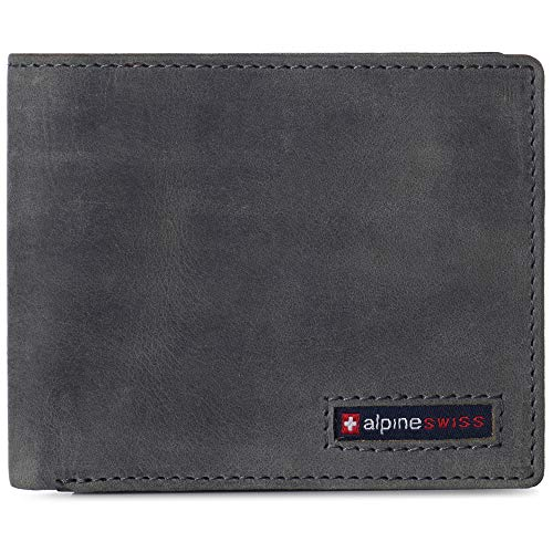 Alpine Swiss Nolan Mens RFID Protected Bifold Wallet Genuine Leather Comes in a Gift Box Gray