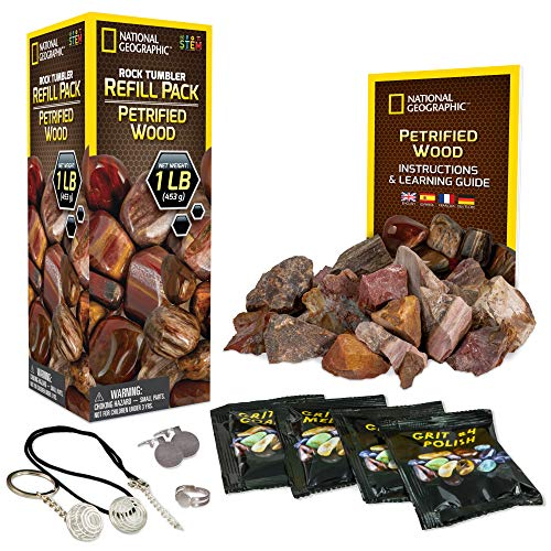 NATIONAL GEOGRAPHIC Rock Tumbler Refill – 1 Lb. Mix of Genuine Petrified Wood Fossils for Rock...
