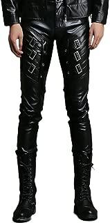 Men`s Black Slim Fit Soft PU Faux Leather Biker Pants
