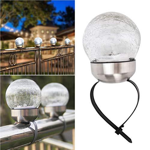 Mobestech Solar-Lampen-Bandage Craquelé-Ball Solarleuchten für Garten Geländer Zaun Hof, Terrasse Dekoration