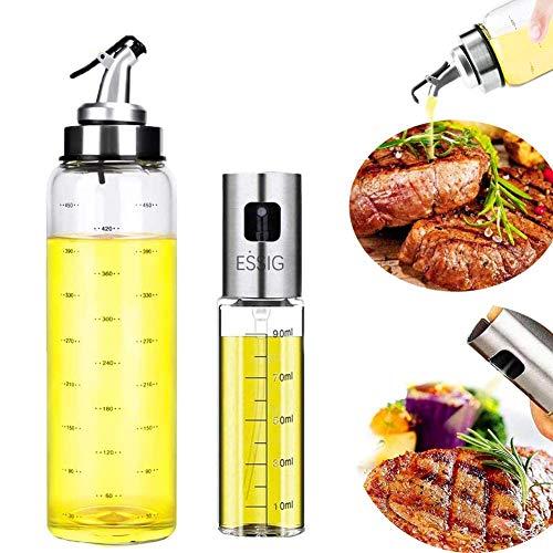 Nifogo Rociador de Aceite, Pulverizador Spray Oliva Aceite, Dispensador De Aceite De Oliva y Vinagre,Con Escala de Botella de Vidrio Para Cocinar,Ensalada/Hornear Pan/BBQ/Cocina 100 ML/500ML