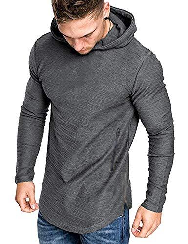 COOFANDY Herren kappuzenpullover Langarm Basic Hoodie Causal Sweatshirts Gym Sport Langarmshirts für Männer Grau M