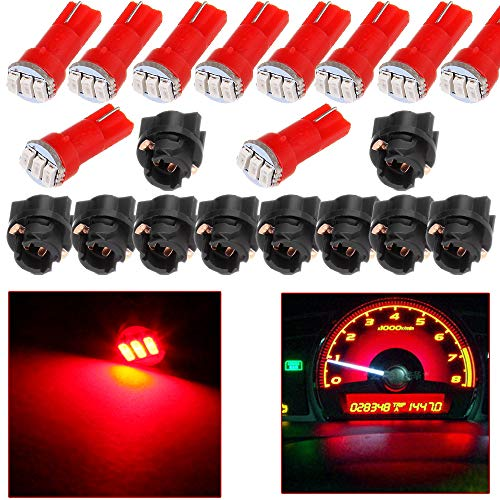 cciyu 10x Twist Socket T5 73 74 led 3-3014SMD Instrument Cluster Dash Light Bulbs Red T5 17 18 37 70 206 207 286 306 2721 Replacement fit for 2005-2011 Toyota Matrix Camry Avalon etc