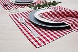 FILU Servietten 8er Pack Rot/Weiß kariert (Farbe und Design wählbar) 45 x 45 cm - Stoffserviette aus 100% Baumwolle im skandinavischen Landhausstil - 3