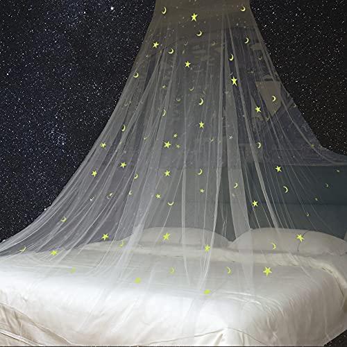 Toldo de cama con estrellas fluorescentes y luna brilla en la oscuridad para bebés, niños, niñas o adultos, cortinas para cama con dosel para cubrir la cuna, tamaño queen, tamaño grande, cama king