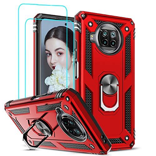 LeYi Funda Xiaomi Mi 10T Lite 5G con [2-Unidades] Cristal Vidrio Templado,Armor Carcasa con 360 Grados Anillo iman Soporte Hard PC y Silicona TPU Bumper Antigolpes Case para Movil 10T Lite 5G,Rojo