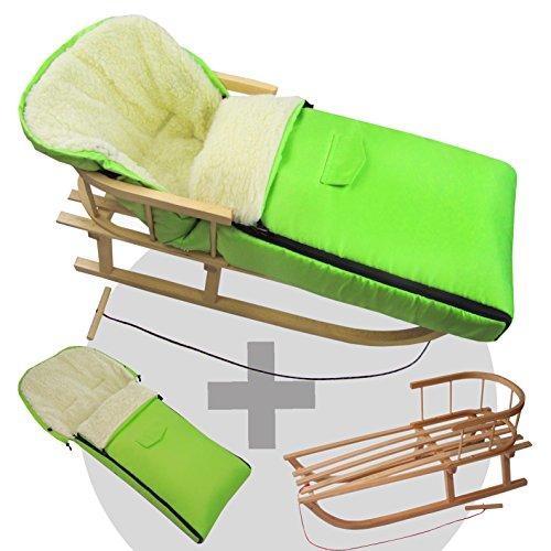 BambiniWelt24 BAMBINIWELT combi-aanbieding houten slee met rugleuning & trekkoord + universele wintervoetenzak (108 cm), ook geschikt voor babyschaal, kinderwagen, buggy, wol uni groen