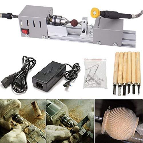 Mini Tischdrehmaschinen Holzdrehmaschine DIY Polierer Maschine für Tischgravur Holz Werkzeug Drehmaschine Zubehör Bohren Schleifen Drehen Fräsen Sägewerkzeug