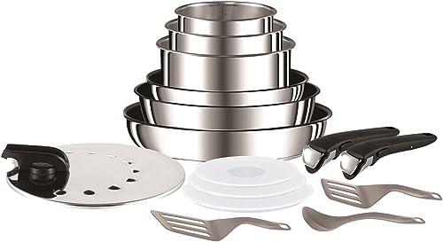 Tefal Ingenio Preference Batterie de cuisine 15 pièces induction, Casseroles non revêtues, Poêles, Couvercles anti pr...