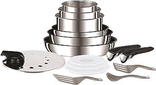 Tefal Ingenio Preference Batterie de cuisine 15 pièces induction, Casseroles non revêtues, Poêles, Couvercles anti project...