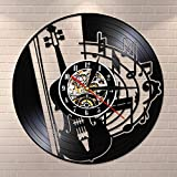 Notas musicales Guitarrista Instrumento de Guitarra Reloj de Pared Disco de Vinilo Casa Decorativo Vintage Retro Reloj de Pared