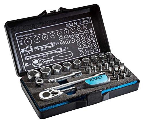 HAZET Profi-Steckschlüssel- und Bitsatz (Vierkant-/Sechskantantrieb, 1/4 Zoll 34-teilig, Umschaltknarre HAZET 863P, 2-Komponenten-Weichschaum-Einlage) 850N