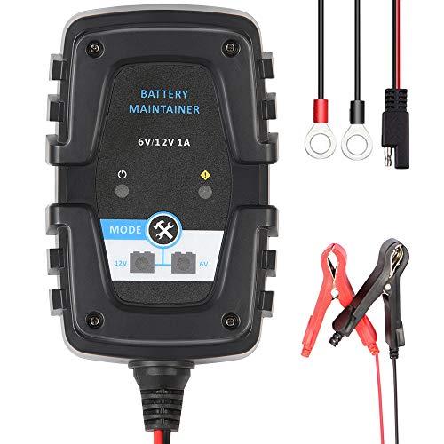 Directtyteam - Caricabatterie automatico intelligente per auto, 6 V, 12 V, 1 A, per auto, moto, scooter, ciclo Profondo AGM Gel VRLA caricatore batteria (connettore SAE)