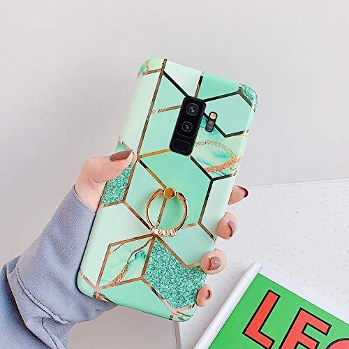 Saceebe Compatible avec Samsung Galaxy S9 Coque Silicone Motif Géométrique Marbre Housse Etui avec Anneau Support Bague Glitter Paillette Brillant Strass Ultra Fine Fille Case,Vert