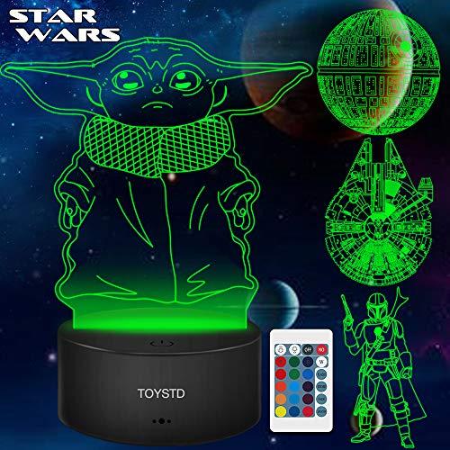 Star Wars Geschenke 3D Lampe Spielzeug Nachtlicht mit 4 Mustern und 7 Farbwechsel Dekor Lampe - Perfekte Geschenke für Star Wars Fans Herren Jungen und Mädchen Männer