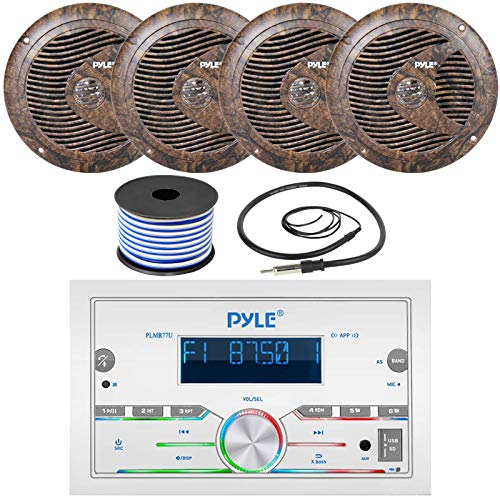 Pyle Double DIN AM FM Stereo MP3 USB AUX Bluetooth Marine Power Receiver Bundle Combo with 2 Pairs of 6.5   150W Full Range Camouflage Waterproof Marine Speakers, Wired Antenna, 18 Gauge Speaker Wire