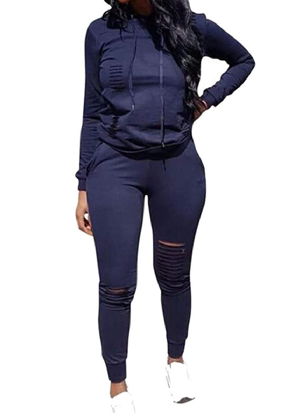 ガム翻訳する干し草女性ドローストリングフード付きソリッドカラー2ピースセットワークアウトホール衣装 1 US X-Small