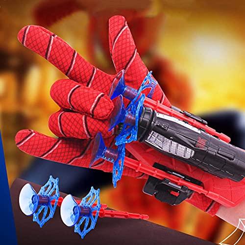 Guanto Hero Launcher,Uomo Ragno Guanto Giocattolo Launcher Set di Giocattoli da Polso,giocattolo da polso 1paramano,3 freccette a ventosa,1guanti,guanto cosplay Hero Launcher Bambini Divertenti