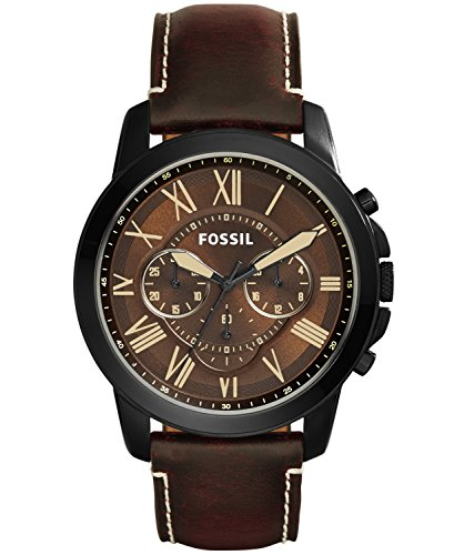 Fossil Men's Grant Quartz Stainless Steel and Leather Chronograph Watch, Color: Black, Brown (Model: FS5088)