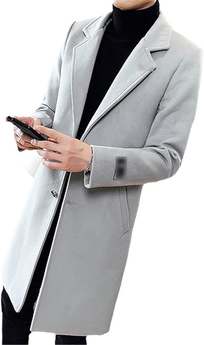 Autumn And Winter Long Solid Color Windbreaker Jacket Men's Wool Jacket Slim Fashion Windbreaker