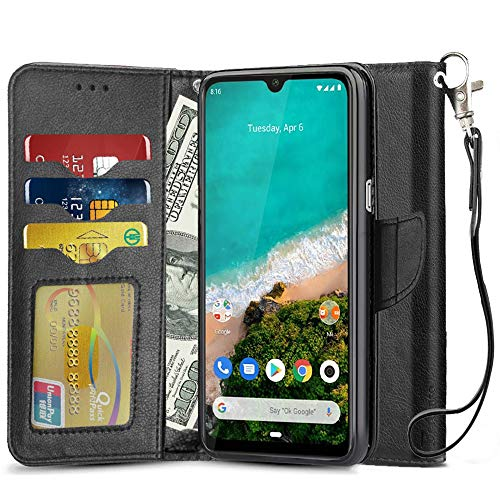 QHOHQ Lederhülle für Xiaomi Mi A3, PU Leder Schutzhülle mit Kartenfächer Magnetisch Hülle Kompatibel Mit Xiaomi Mi A3 (Schwarz)