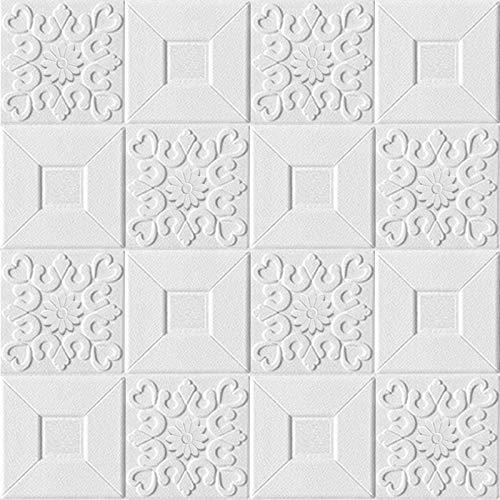 SPFOZ Decoración hogareña Techo estéreo 10pcs 3D Pegatinas de Pared Autoadhesivo Paneles engomada de la decoración del Techo de la Espuma del Papel Pintado de la Sala de la casa del Dormitorio